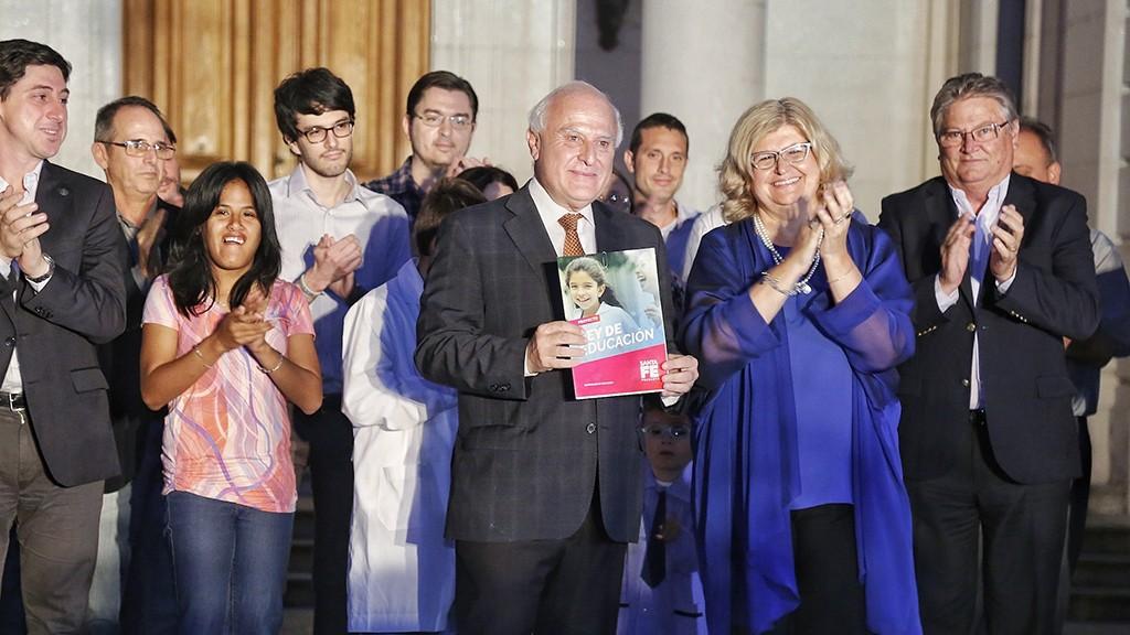 Sarasola acompañó a Lifschitz en la presentación de la Ley de Educación